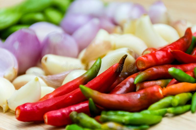 Full frame of Chilli,Garlic,Red onion,Parkia speciosa Petai herb and spicy ingredients royalty free stock photos