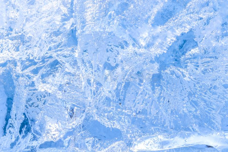 Full frame ice background. Backlit with the sun stock photo