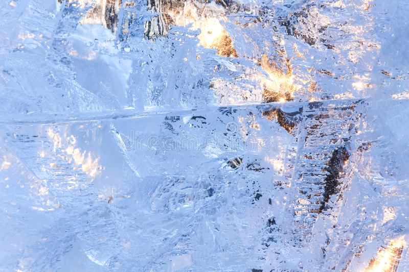 Full frame ice background. Backlit with the sun stock photography