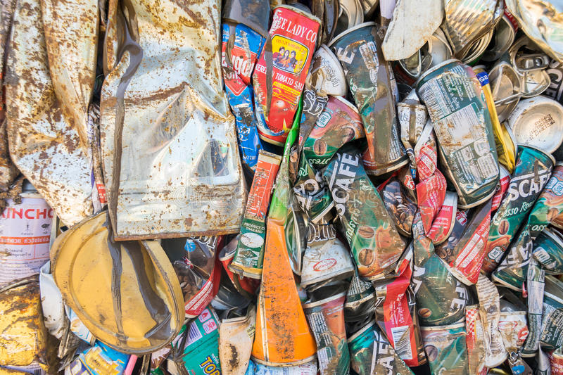 Full frame image of crushed tin cans for recycling royalty free stock photography