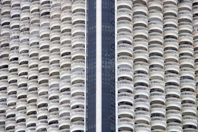 Full frame photograph looking at the exterior facades of a city skyscraper. Thailand royalty free stock images