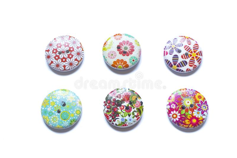 Full frame and selective focus photo of various and colorful sewing buttons.  stock photography