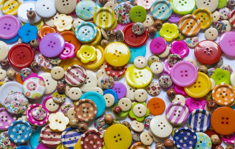 Full frame and selective focus photo of various and colorful sewing buttons.  royalty free stock photography