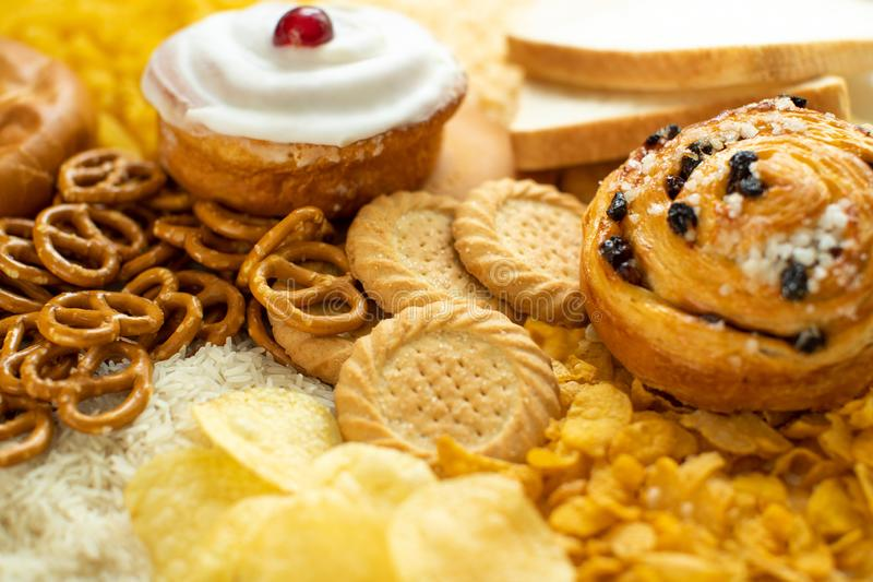 Full Frame Shot Of Foods Containing Unhealthy Or Bad Carbohydrates royalty free stock images