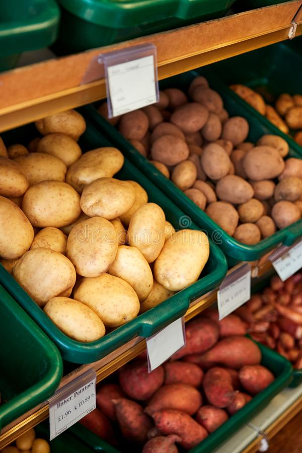Full Frame Shot Of Fresh Potatoes Displayed In Organic Farm Shop royalty free stock images
