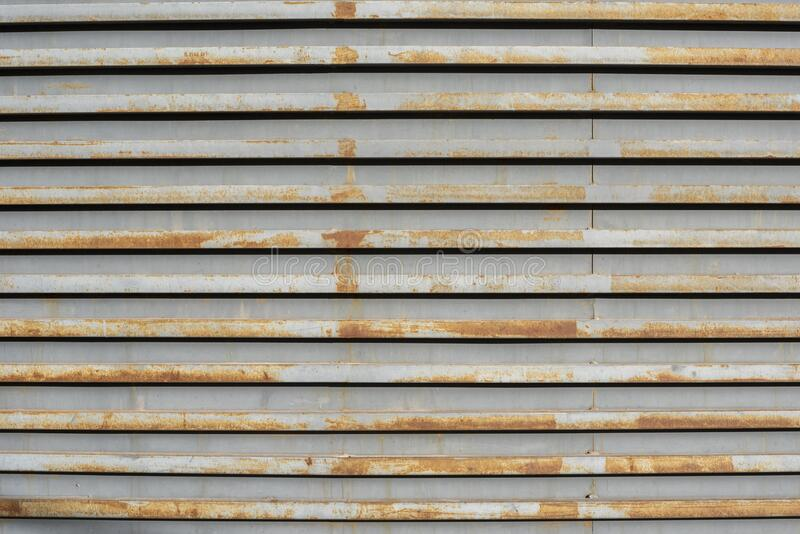 Full Frame Shot Of Rusty Corrugated Wall. Alicante city, Spain stock photo