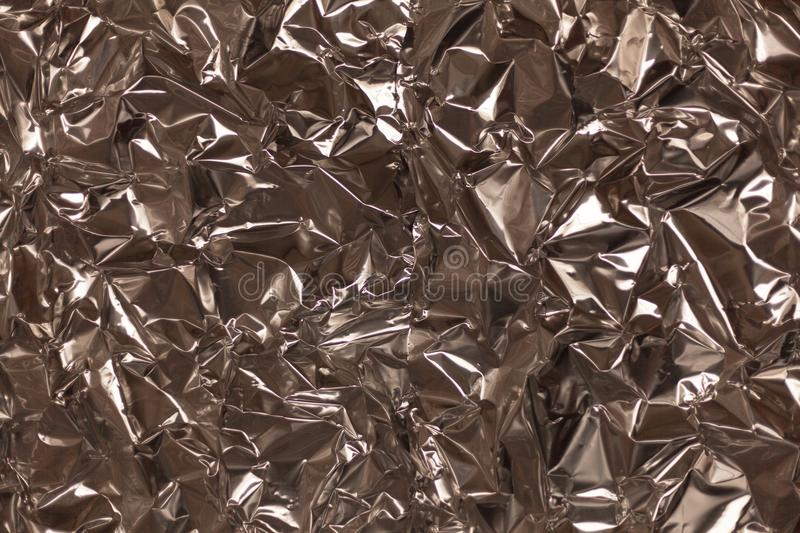 Full frame take of a sheeT of crumpled silver aluminum foil. Background royalty free stock photos