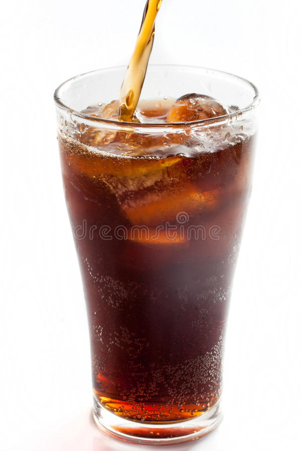 Full glass of cola, isolated. On white background royalty free stock photography