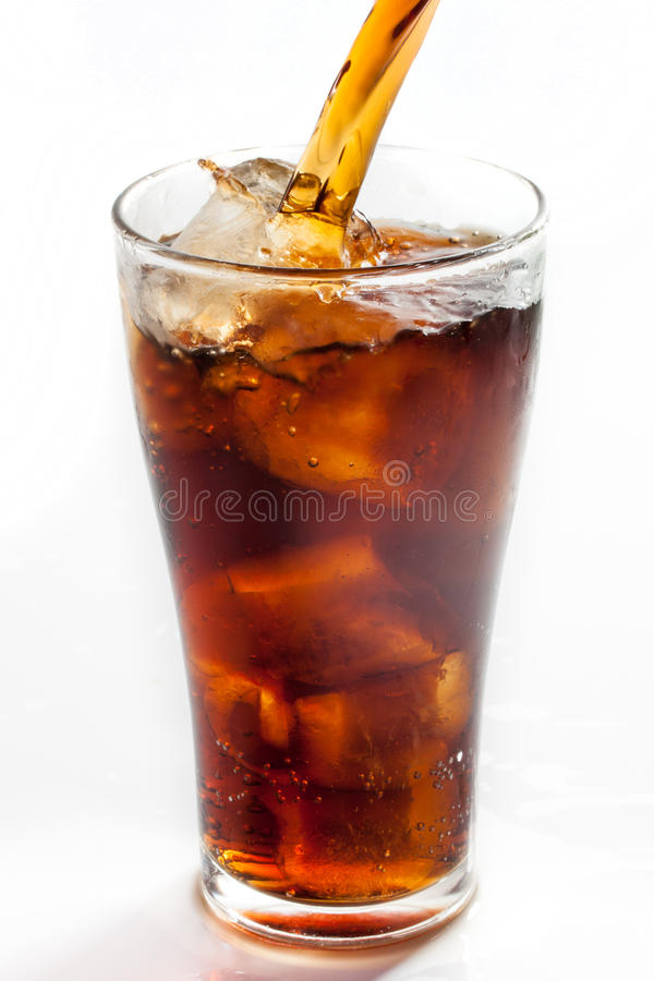 Full glass of cola. Isolated on white background royalty free stock image