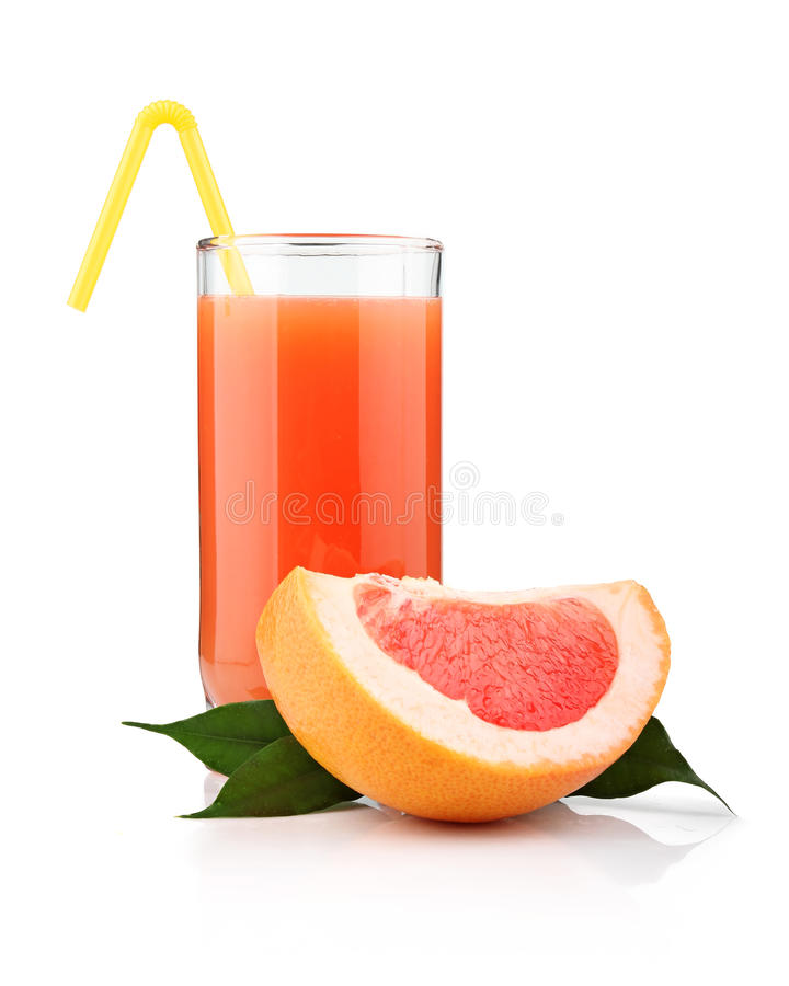 Full Glass Of Grapefruit Juice And Fruits Isolated Royalty Free Stock Photo