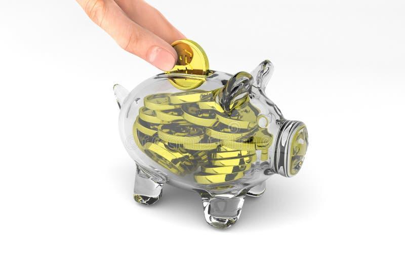 Full glass piggy bank stock illustration