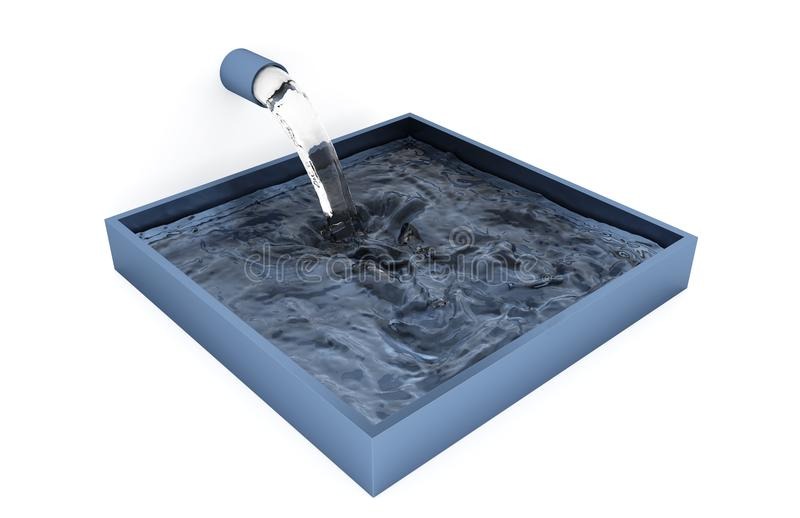 Almost Full Grey Blue Square Bowl where Water filling up royalty free illustration