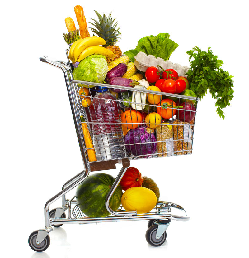 Full grocery cart. stock images