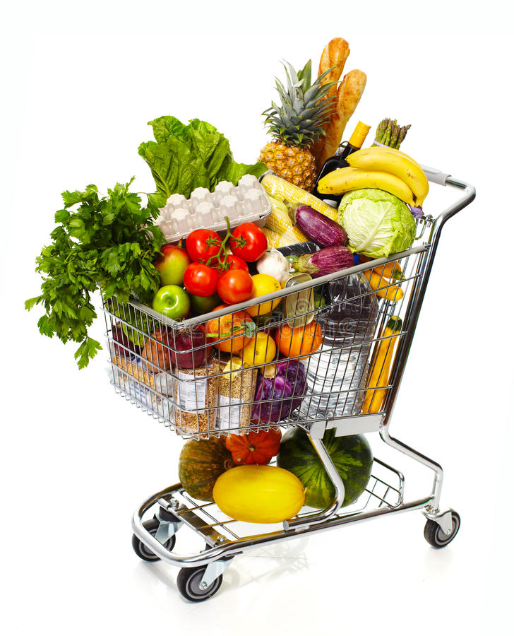 Full grocery cart. royalty free stock photo