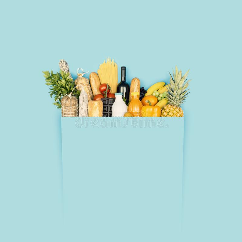 Full grocery shopping bag with copy space stock image