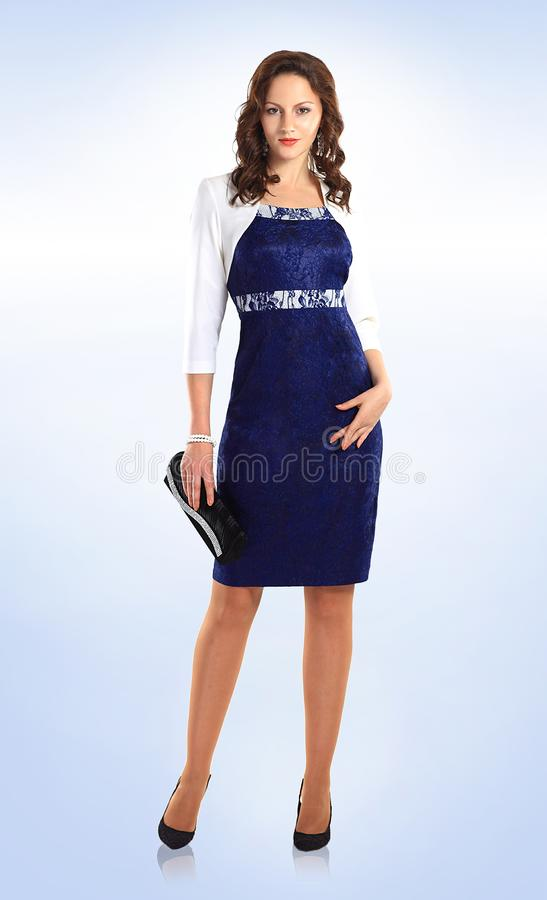 In full growth. beautiful woman model in business dress stock image