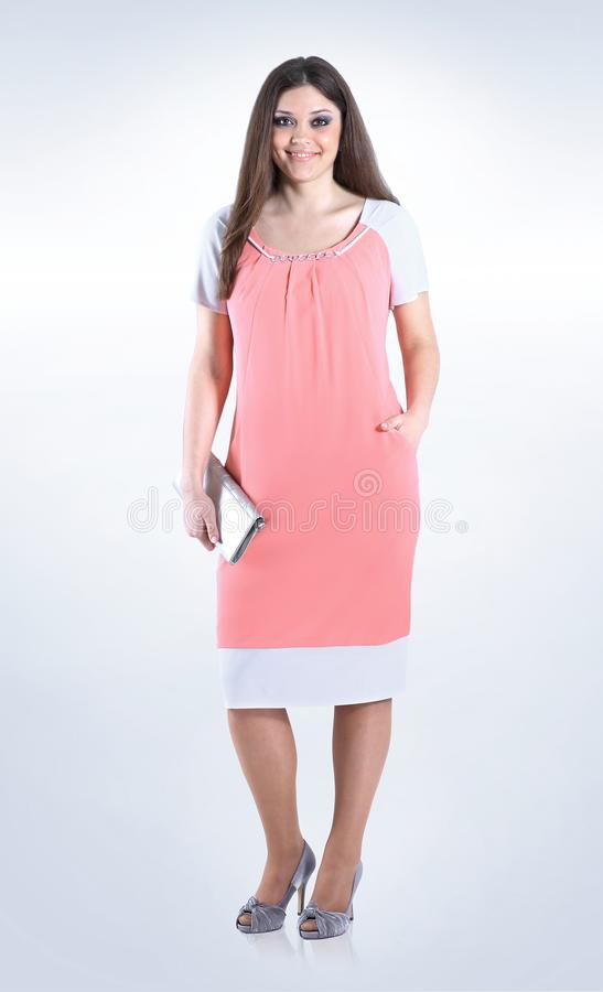 In Full Growthautiful Woman In Summer Dress On Whiteus Size