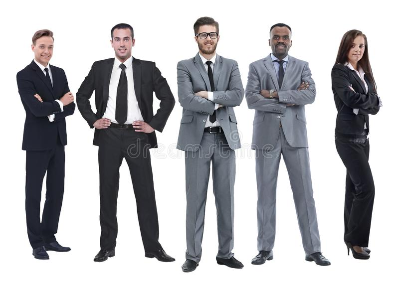 In full growth.boss and his business team standing together. Isolated on white background stock photography