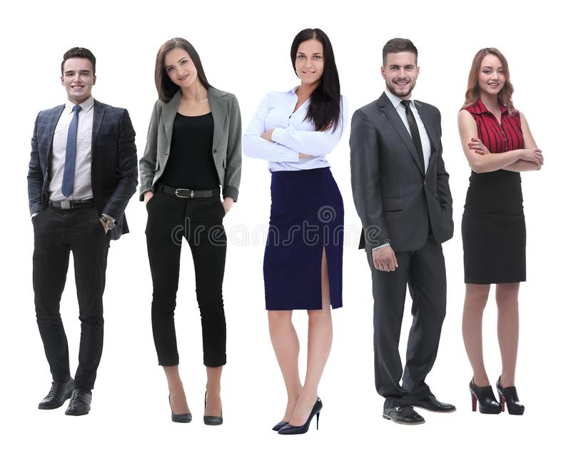 In full growth.boss and his business team standing together royalty free stock images