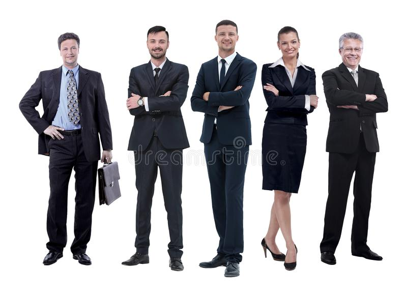 In full growth.boss and his business team standing together. Isolated on white background royalty free stock image