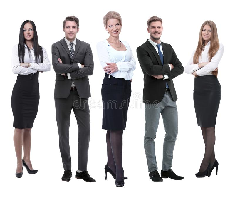 In full growth.boss and his business team standing together stock photos