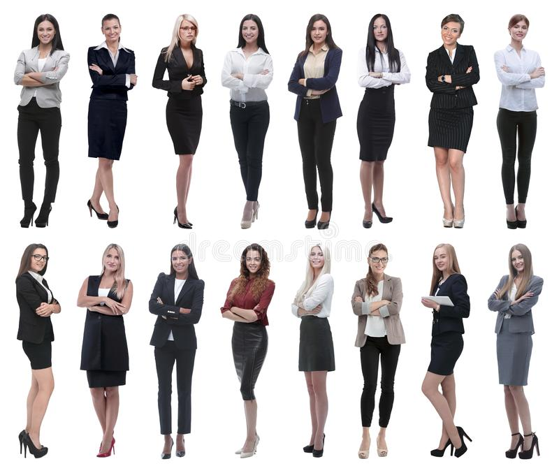In full growth.collage of a group of successful young business women. stock photos