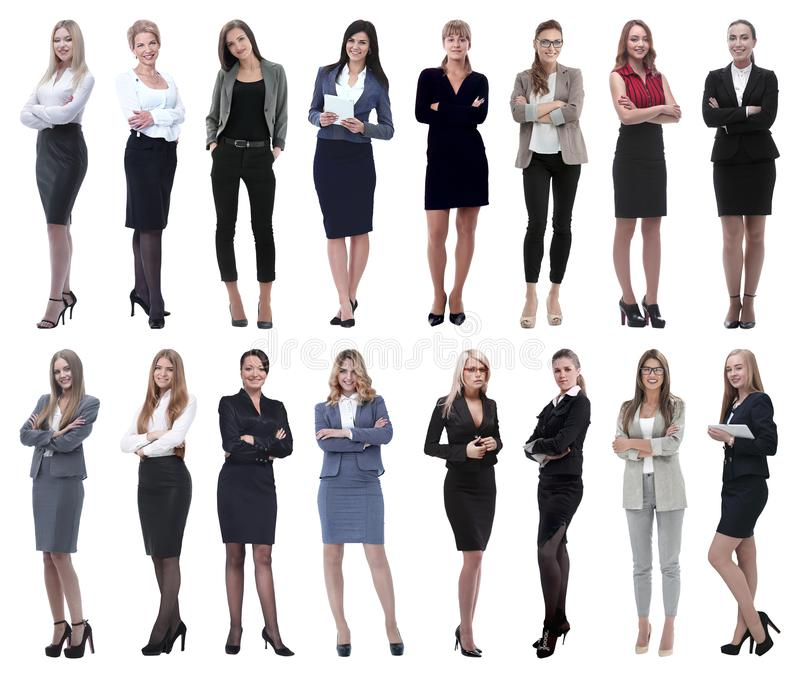 In full growth.collage of a group of successful young business women. Isolated on white background royalty free stock photo