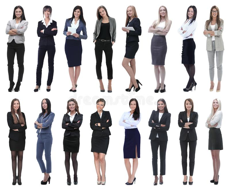 In full growth.collage of a group of successful young business women. royalty free stock photography