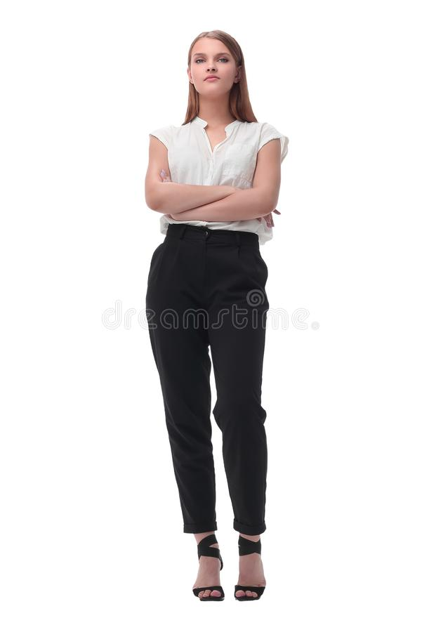 Elegant young business woman. isolated on white stock photo