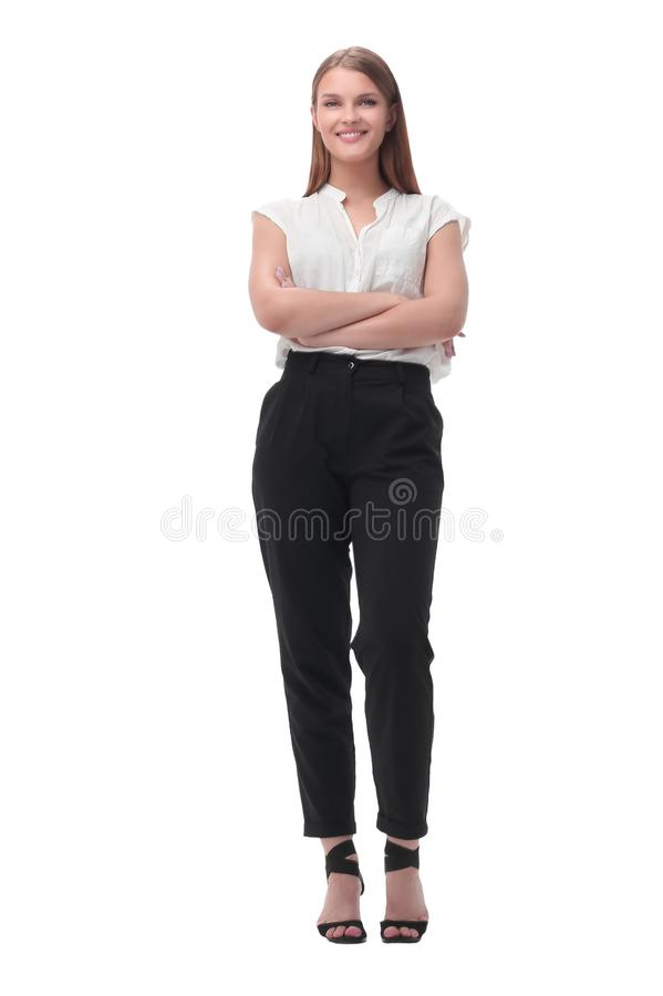 Elegant young business woman. isolated on white royalty free stock images