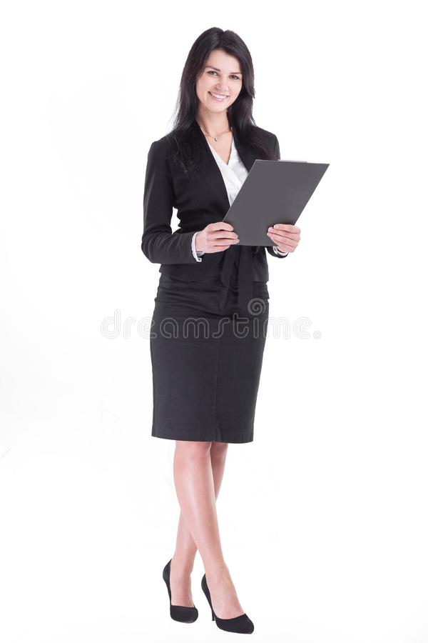 In full growth. Executive business woman with clipboard. royalty free stock image