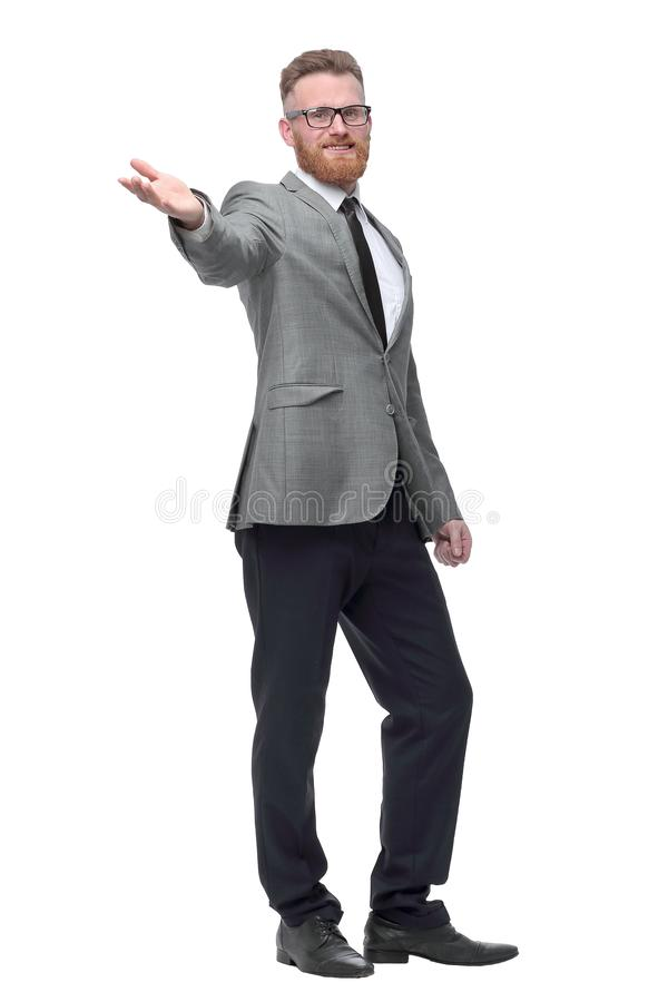 Friendly businessman welcoming you. isolated on white stock photo