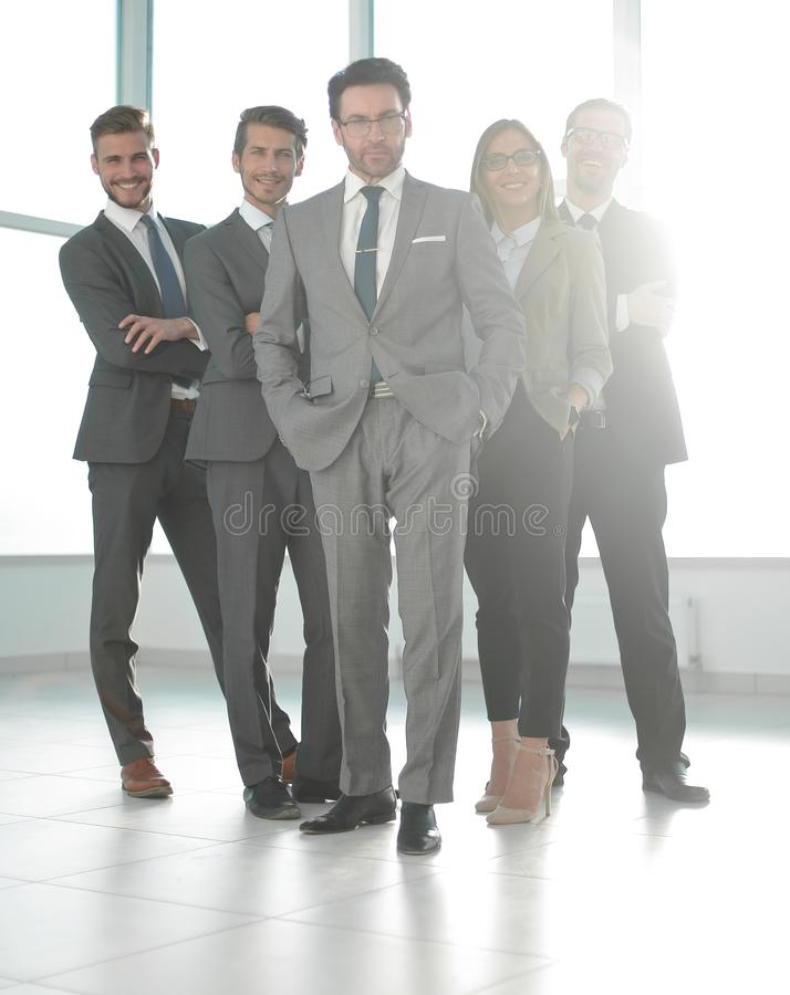 In full growth, happy group of business people stock photography