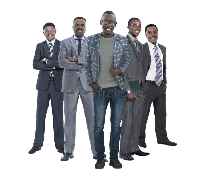 In full growth.leader standing in front of his business team. royalty free stock photography