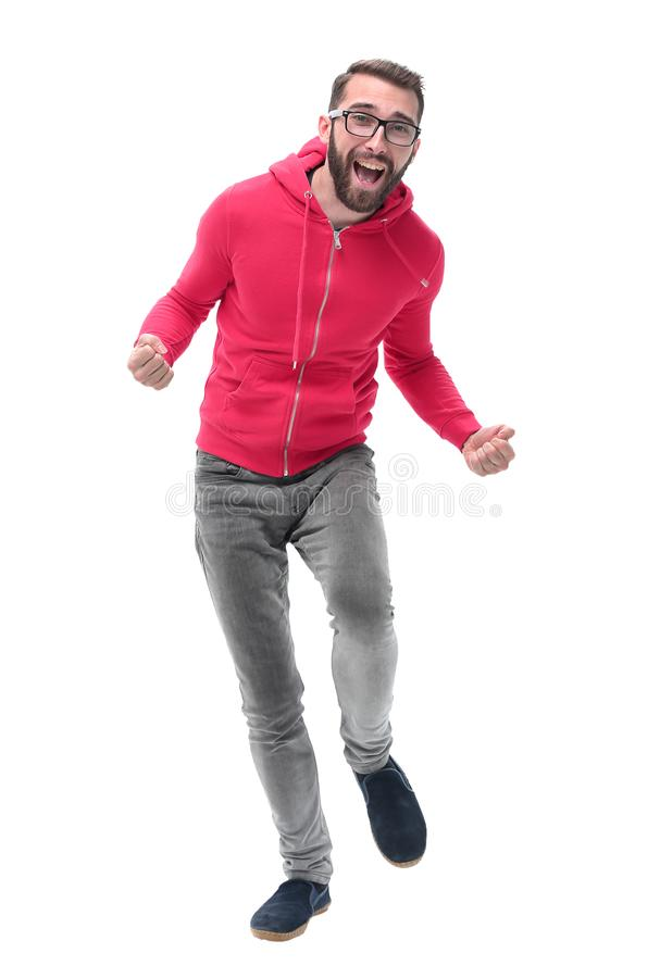 In full growth. portrait of cheerful trendy guy stock images