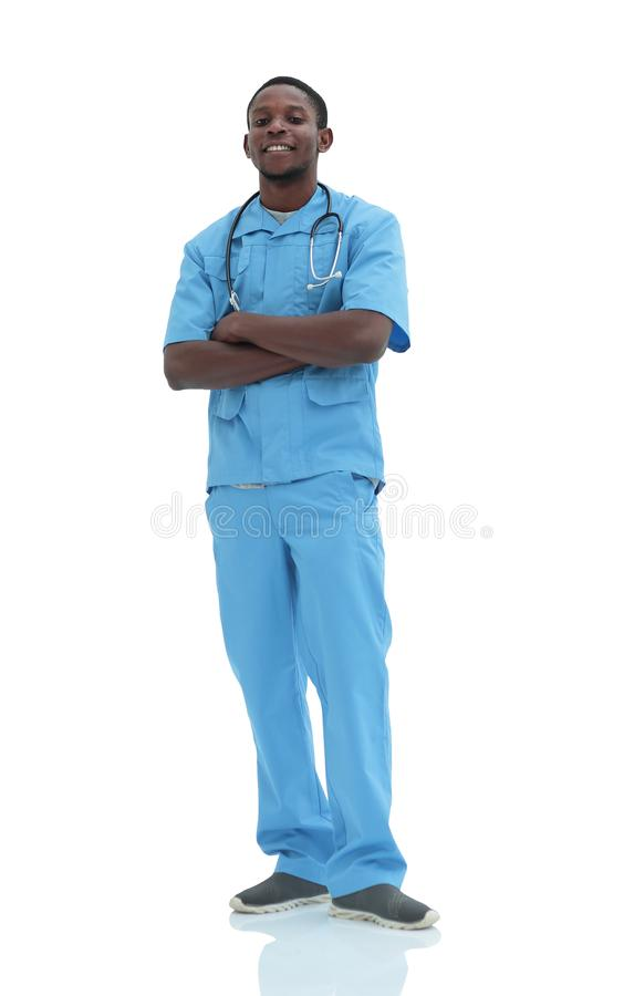 In full growth. portrait of a confident young doctor surgeon stock photo