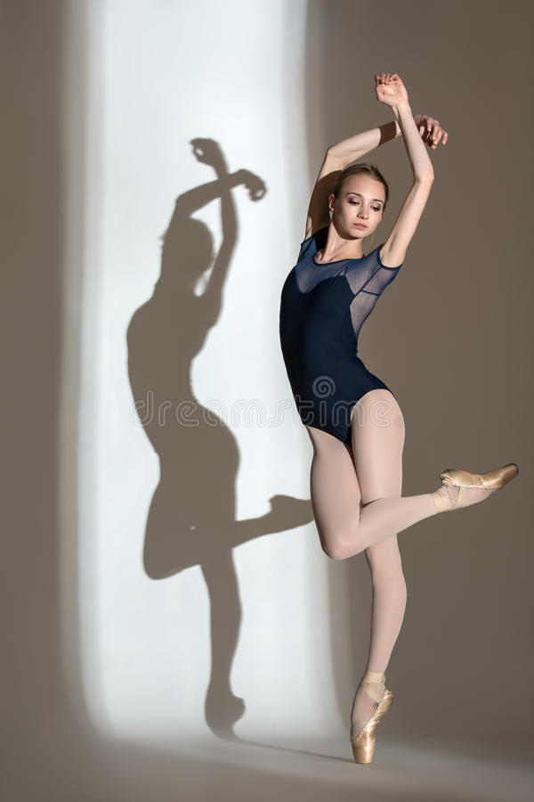 Full growth portrait of the graceful ballerina in royalty free stock photography