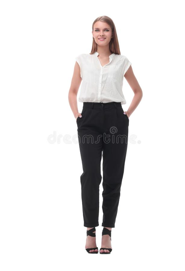 In full growth. portrait of a serious young business woman. Isolated on white background royalty free stock photos