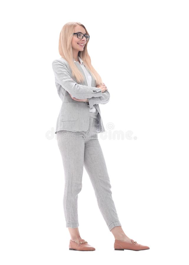 Portrait of a successful confident businesswoman .isolated on white. In full growth. portrait of a successful confident businesswoman .isolated on white royalty free stock photography