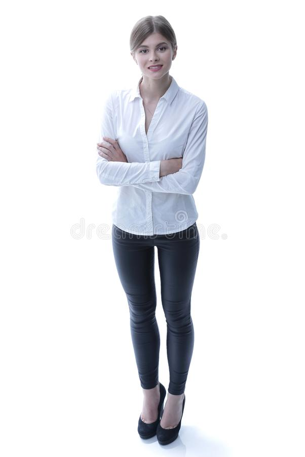 In full growth. portrait of young business lady. i royalty free stock images