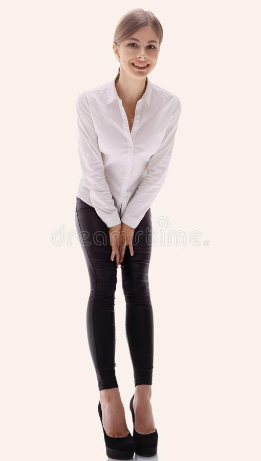 In full growth. portrait of young business lady. i stock image