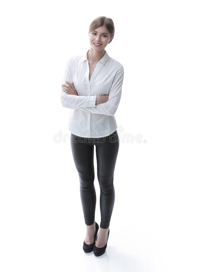 In full growth. portrait of young business lady. i royalty free stock photos