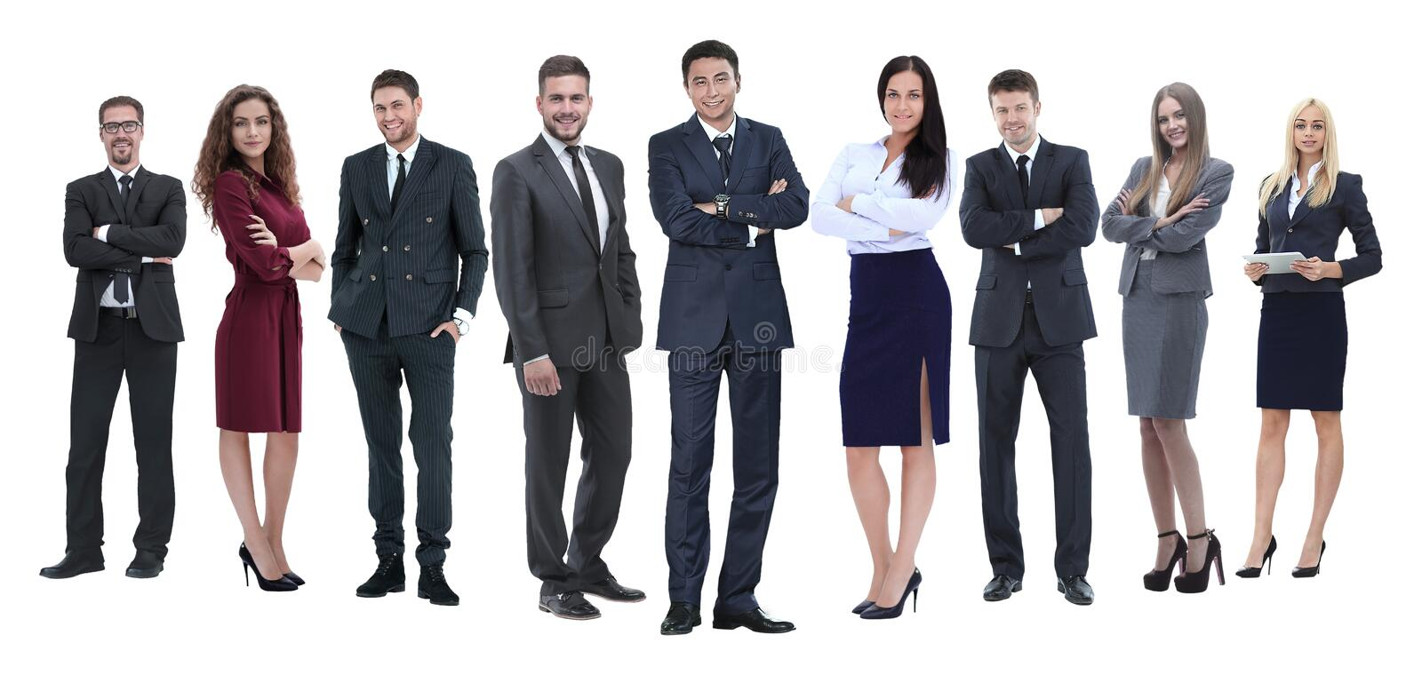 In full growth.professional business team isolated on white royalty free stock photos