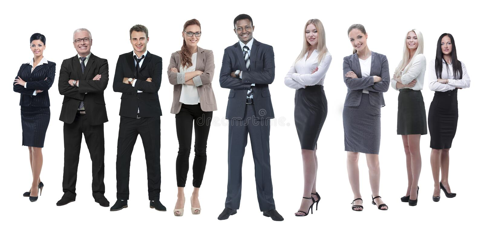 In full growth.professional business team isolated on white royalty free stock images
