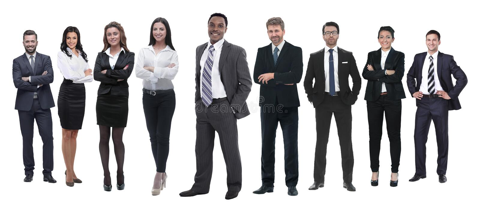 In full growth.professional business team isolated on white royalty free stock photography