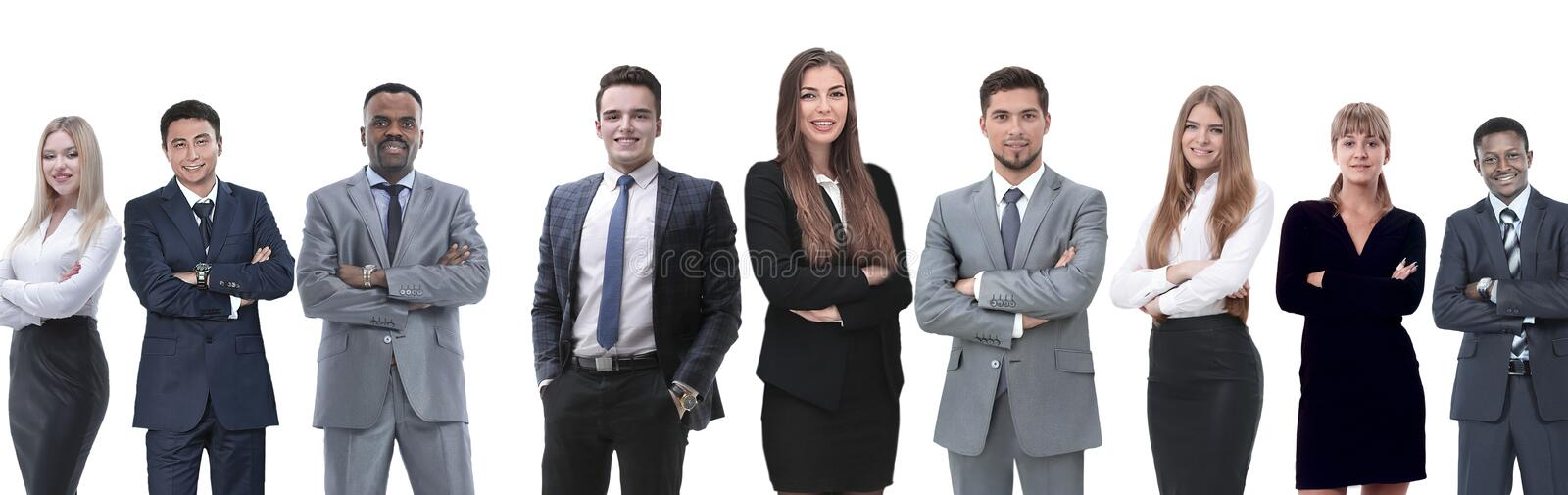In full growth.professional business team isolated on white royalty free stock photo
