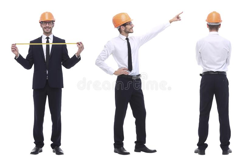 In full growth .qualified engineer architect isolated on white royalty free stock photography