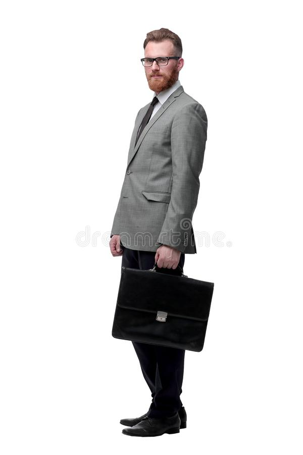 In full growth. responsible modern businessman . isolated on white stock images