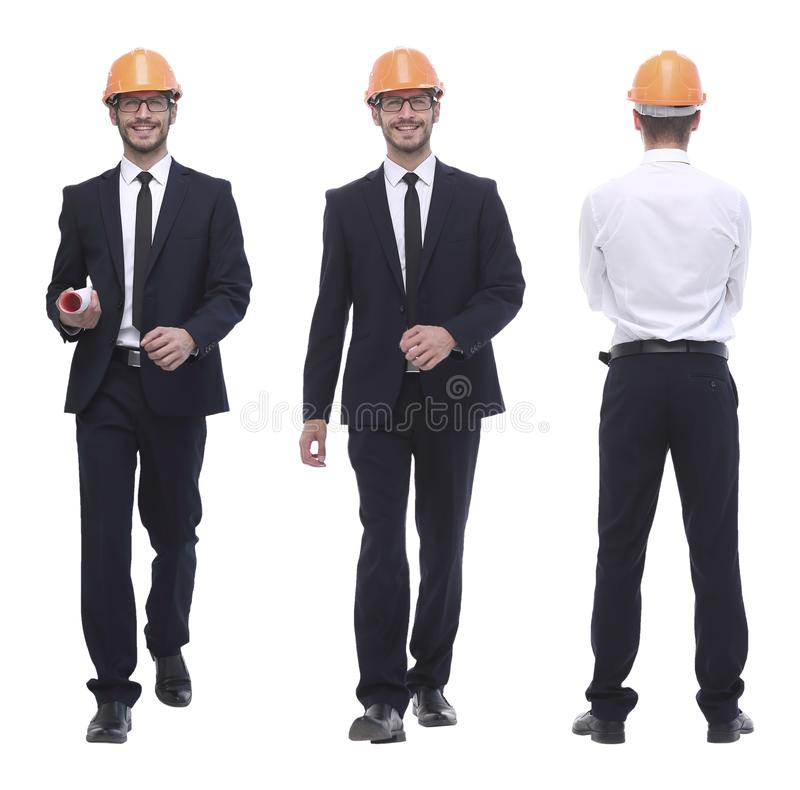 In full growth .successful architect engineer in orange helmet. stock images