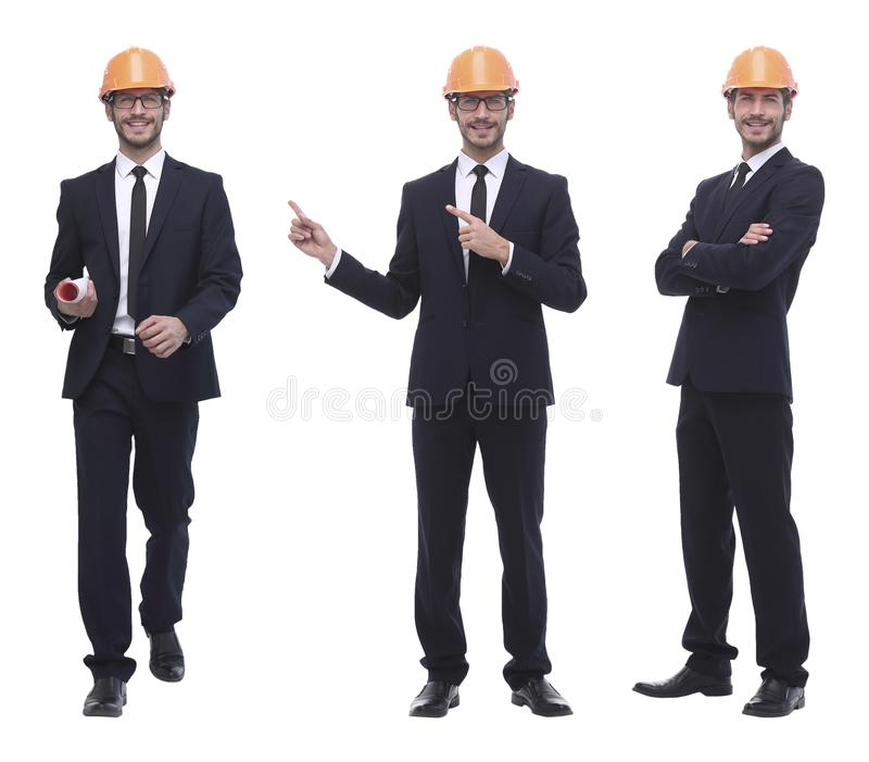 In full growth .successful architect engineer in orange helmet. stock photo